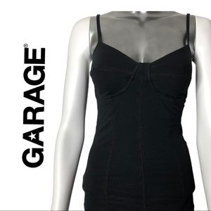 Garage Black Tank Top Bustier Style Size Small